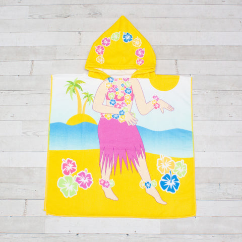 Hula Girl Beach Towel Poncho - Personalized