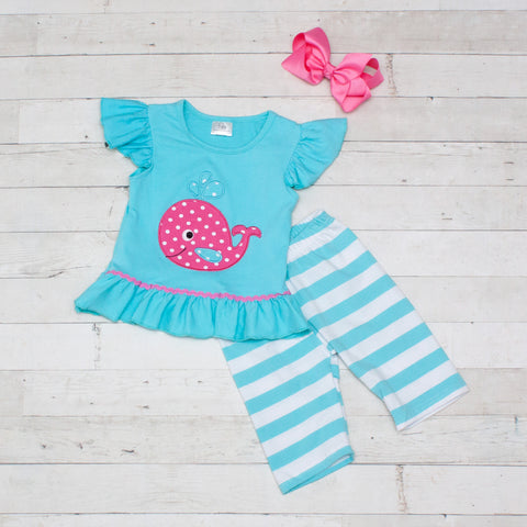Turquoise Stripes with Hot Pink Polka Whale 2 Piece Outfit - Top & Capris
