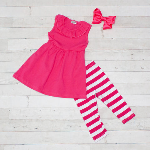 Hot Pink Stripes 2 Piece Outfit - Top & Capris