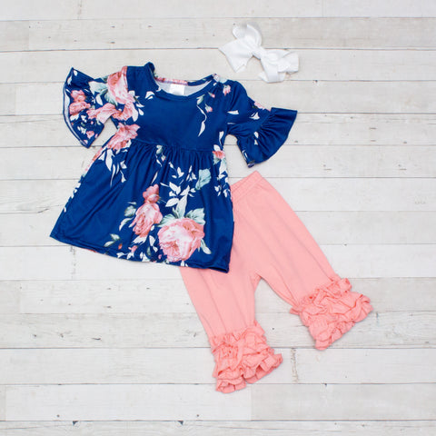 Dark Blue & Blush Floral 2 Piece Outfit - Top & Capris