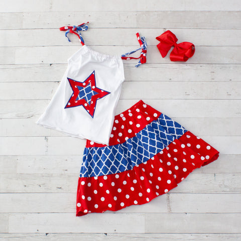 Patriotic 2 Piece Outfit - Top & Skirt