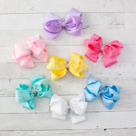 "6"" Gold Stars on Pastel Grosgrain Hair Bow - 7 Pastel Colors"