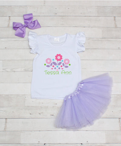 Flowers & Hearts - Personalized 3pc T-Shirt and Lavender Tutu Set