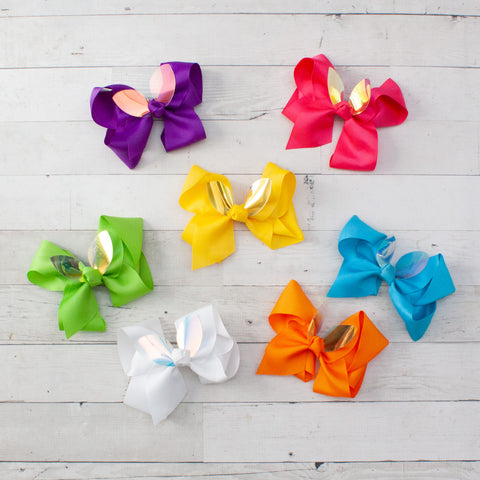 "6"" Iridescent Bunny Ear Grosgrain Hair Bow - 7 Bold Colors"