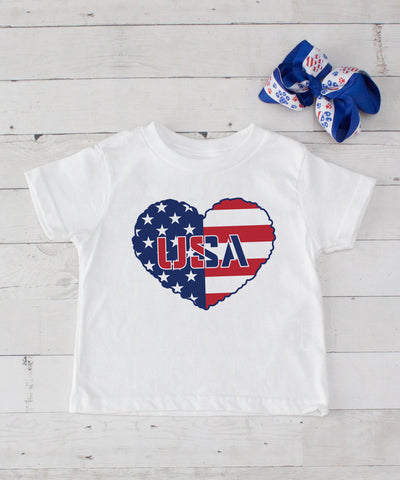 USA Heart - Graphic T-Shirt & Bow Set