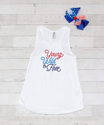Young Wild & Free - Graphic Tank & Bow Set