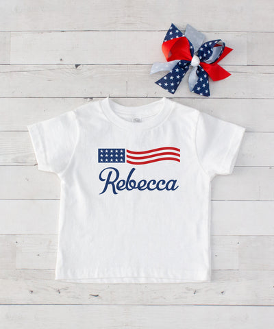 Personalized American Flag - Graphic T-Shirt & Bow Set