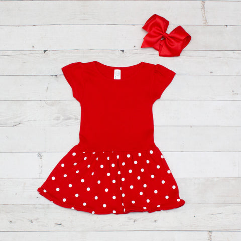 Girls Personalized Character Inspired Red & White Polka Dot Dress