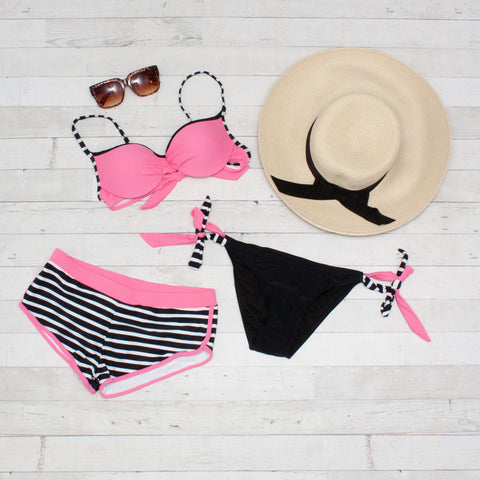 Pink & Black Striped Bikini 3 Piece Set