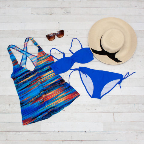 Blue Sunset Tankini Bikini 3 Piece Set