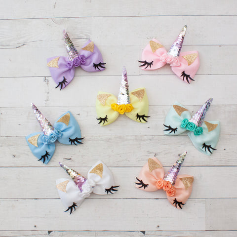 "6"" Sleeping Unicorn Rose Center Grosgrain Big Hair Bow Clip - 7 Colors"