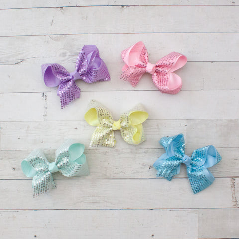 "6"" Sequin Grosgrain Hair Bow - 5 Pastel Colors"