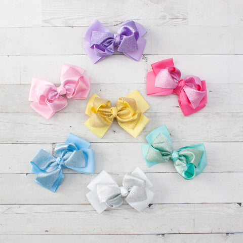 "6"" Shimmery Pastel Grosgrain Hair Bow - 7 Pastel Colors"