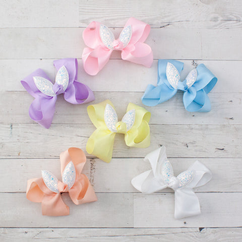 "6"" White Glitter Bunny Ear Grosgrain Hair Bow - 6 Pastel Colors"