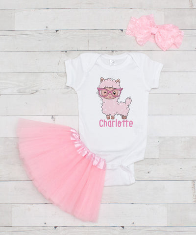 Personalized Pink Llama in Glasses Little Bodysuit - Graphic T-Shirt & Pink Tutu Set