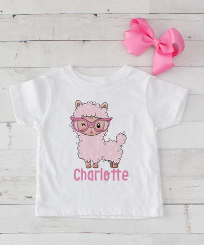 Personalized Pink Llama in Glasses - Graphic T-Shirt & Bow Set