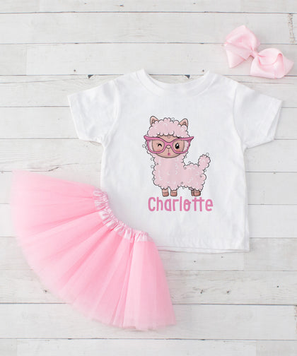 Personalized Pink Llama in Glasses - Graphic T-Shirt & Light Pink Tutu Set