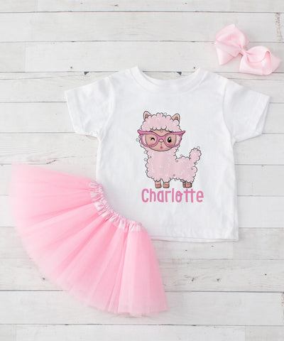 1ed55e56ae3c Personalized Pink Llama in Glasses - Graphic T-Shirt   Light Pink Tutu Set