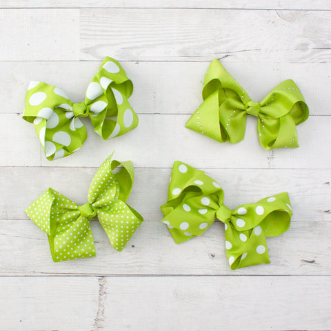 "6"" Lime Polka Dot Grosgrain Bows - 4 Choices"