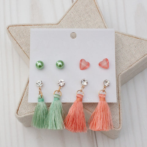 Pearls, Hearts & Tassels Earring Sets - 3 Color Sets