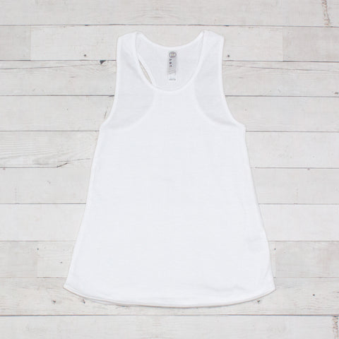 Girls White Racer Back Tank Top