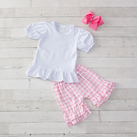 Pink Personalized Checkered 2 Piece Outfit