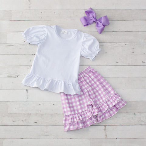 Lavender Personalized Checkered 2 Piece Outfit