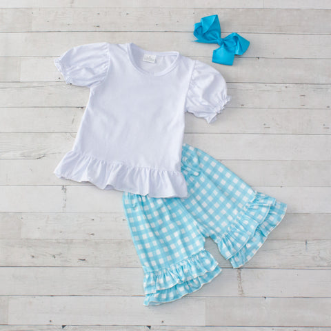Light Blue Personalized Checkered 2 Piece Outfit