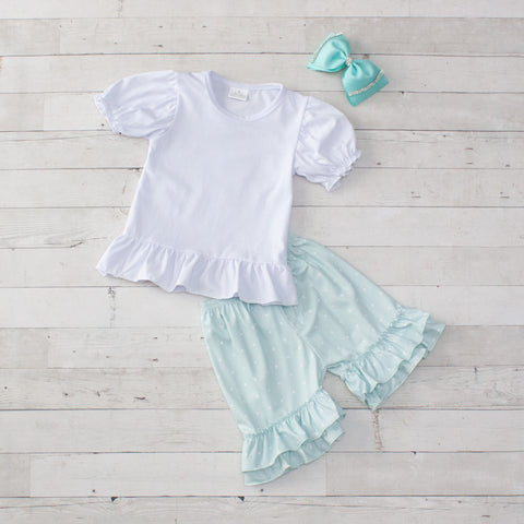 Mint Personalized Polka Dot 2 Piece Outfit