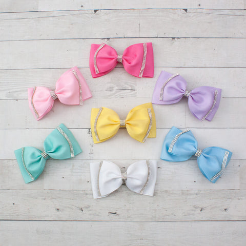 "6"" Rhinestone Lined Bowtie Hair Bow Clip - 7 Pastel Colors"