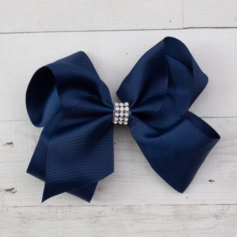 "6"" Navy Blue Rhinestone Center Grosgrain Hair Bow"