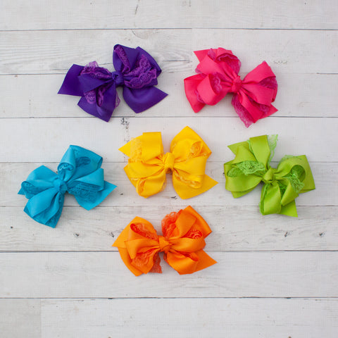 "6"" Lace & Grosgrain Layered Hair Bow - 6 Bold Colors"
