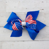 "6"" Patriotic Layered Hair Bow Clip - 2 Choices"