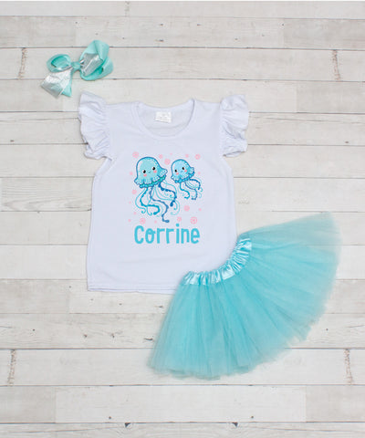 Jelly Fish - Personalized 3pc T-Shirt and Aqua Tutu Set
