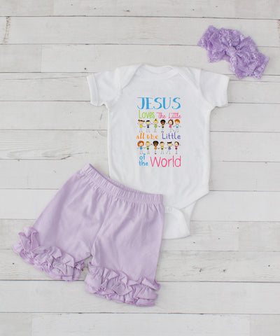 Jesus Loves - 3pc Bodysuit and Lavender Short Set