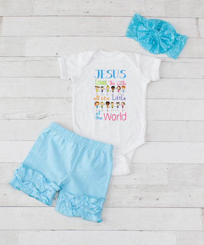 Jesus Loves - 3pc Bodysuit and Light Blue Short Set