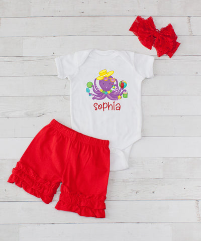 Purple Octopus Personalized - 3pc Bodysuit and Red Short Set