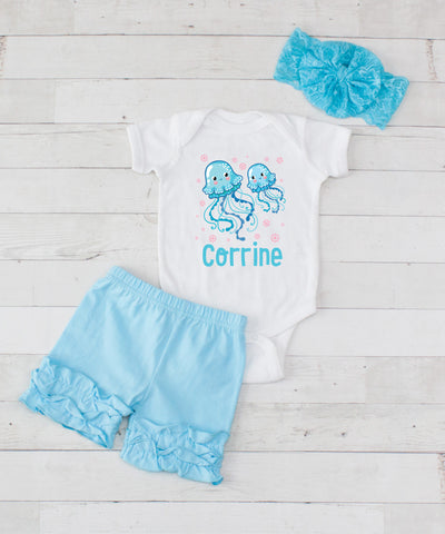 Jellyfish Personalized - 3pc Bodysuit and Light Blue Short Set