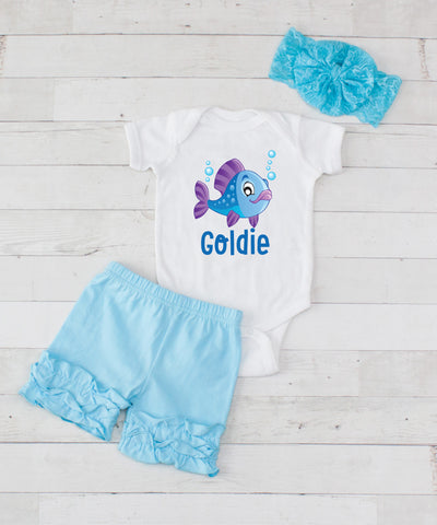 Blue Fish Personalized - 3pc Bodysuit and Light Blue Short Set