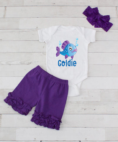 Blue Fish Personalized - 3pc Bodysuit and Purple Short Set