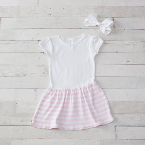 Girls Personalized Light Pink Striped Jersey Dress