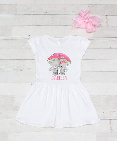 Rainy Day Kitties Personalized White Jersey Dress - 2pc Dress & Bow Set