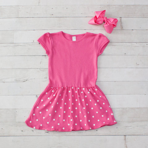 Girls Personalized Pink Polka Dot Jersey Dress