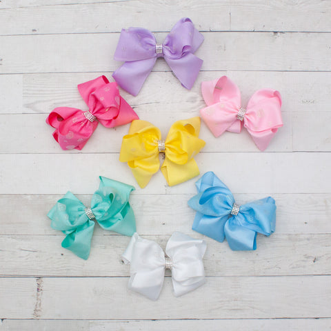 "6"" Glitter Bubble Dot Grosgrain Hair Bow Clip - 7 Colors"