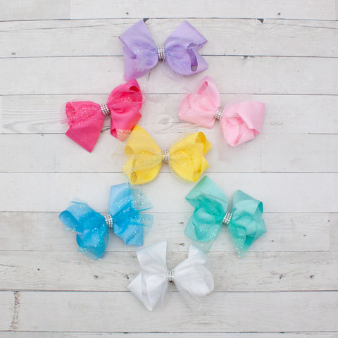 "6"" Glittery Tulle & Grosgrain Hair Bow Clip - 7 Colors"