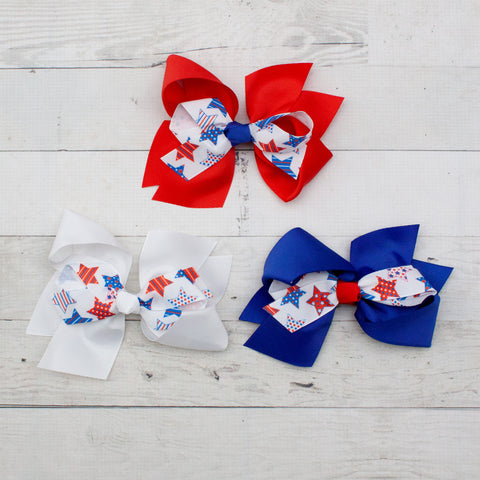 "6"" Patriotic Stars Hair Bow Clip - 3 Choices"