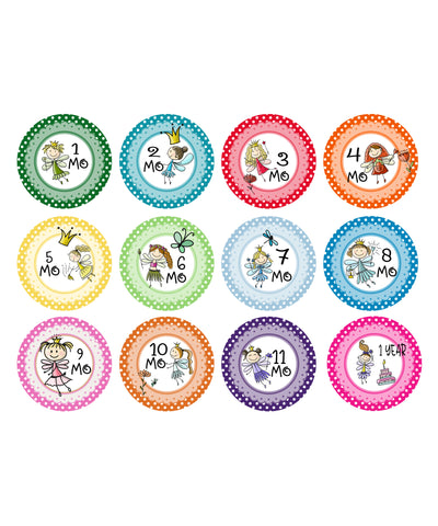 Baby Monthly Stickers - Little Fairies