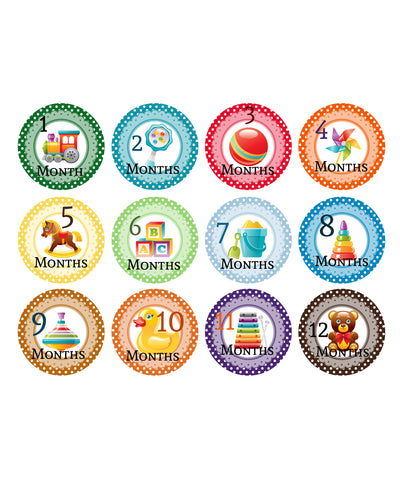 Baby Monthly Stickers - Nursery Toys