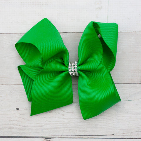 "6"" Green Rhinestone Center Grosgrain Hair Bow"