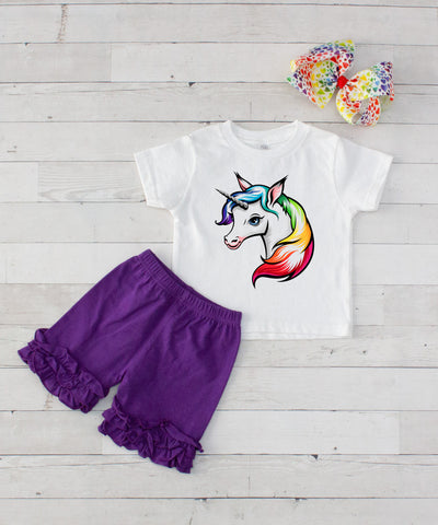 Rainbow Unicorn - 3pc Shirt and Short Set